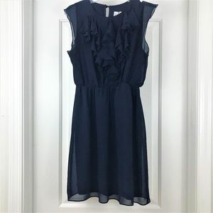 Navy Blue Petite Ruffle Dress